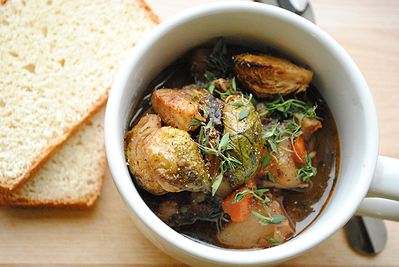 Slow Cook Recipe: Chicken Stew with Roast Brussel Sprouts