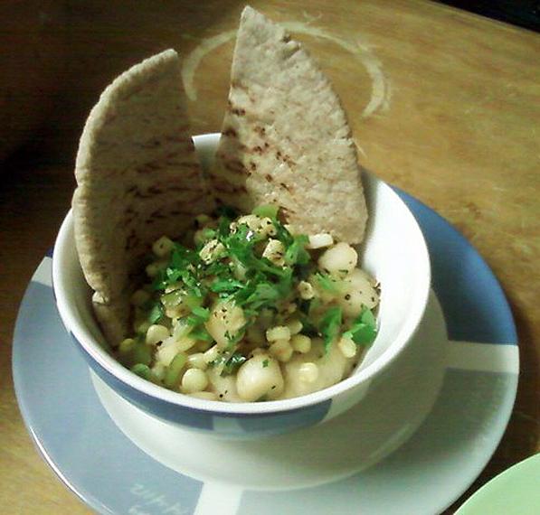 Saute Scallops and Corn over Fresh Lima Bean Puree