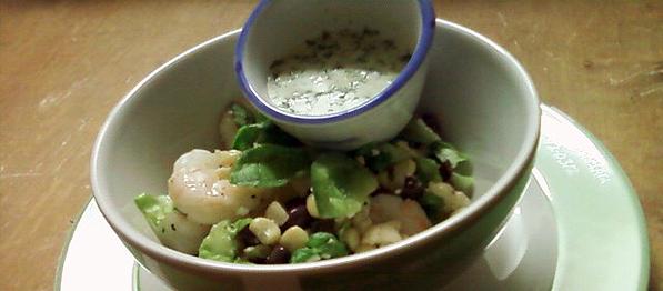 A Quick Meal: Black Beans, Corn, Feta Cheese, Cosnes and Shrimp Salad with Cilantro-Yogurt Dressing