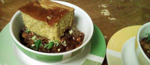 Chili Mole Sauce over Brown Rice served with Buttermilk Cornbread