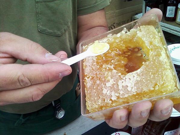 Tasting a honeycomb