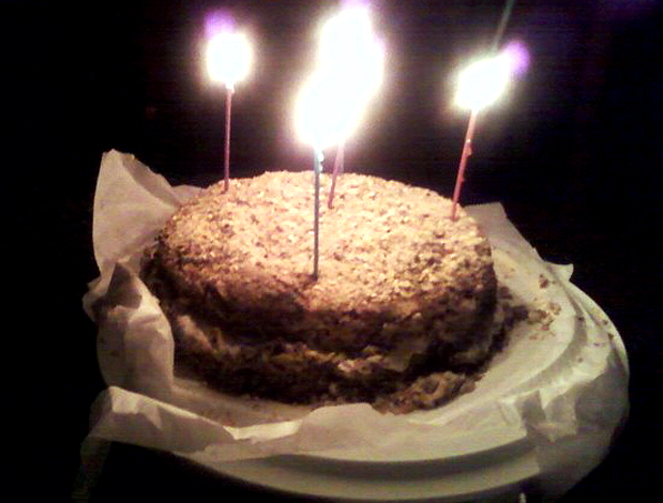 Birthday Cake with Mango Cream Cheese Icing and Pistachio Crumb