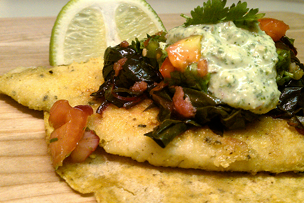 Cornmeal-Crusted Flounder with Sauté Swiss Chard, Tomato Salsa and Cilantro-Almond Sauce Tacos