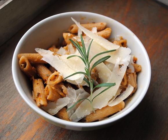 Roast Garlic Butternut Squash with Chicken served with Wheat Pasta