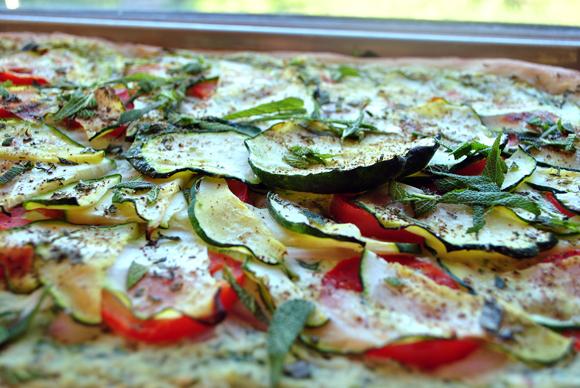 Zucchini Tomato Ricotta Pizza