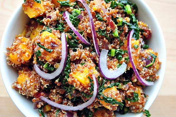 Butternut Squash and Kale with Red Quinoa with Ginger Vinaigrette