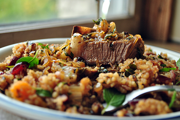 Lamb Chops with Apple Cider Sauce over Couscous with Dried Fruit