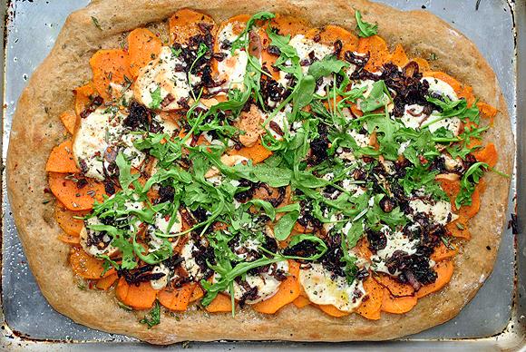 Sweet Potato, Caramelized Shallots, Smoked Mozzarella Pizza with Wilted Arugula
