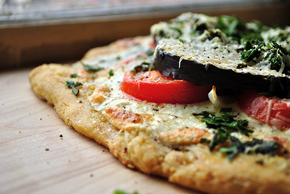 Eggplant Tomato Pizza with Cornmeal Crust