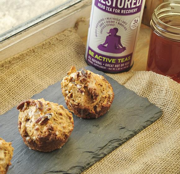 Farro Yogurt Muffins with Be Active Tea