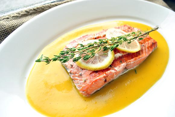 Saffron Butternut Squash Soup with Grilled Salmon