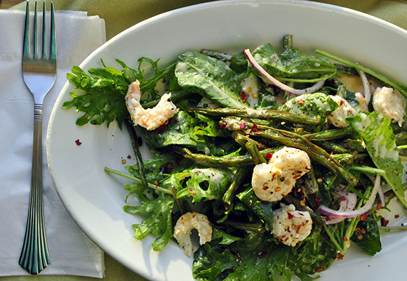 Baby Kale Salad with Green Bean Fries and Roast Lemon Shrimp