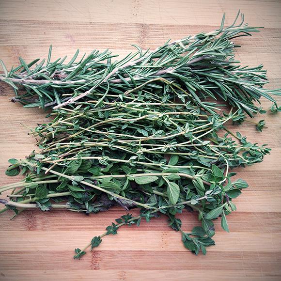 Fresh thyme, oregano and rosemary