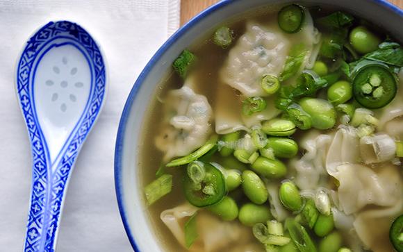Wonton Soup with Bok Choy and Edamane