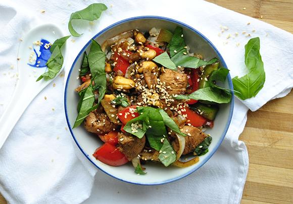 Basil Cashew Chicken Stir-Fry